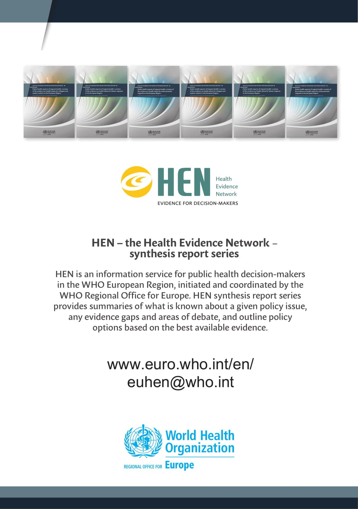 WHO Health Evidence Network synthesis reports